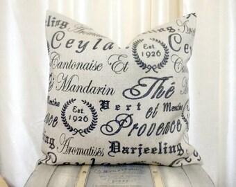 French Script Pillow, French Throw Pillow, Throw Pillow, Accent Pillow