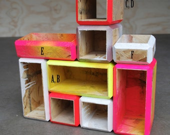 Personalized and Modularized, Geometric Modular Storage Cubbies, Made to Order, Different Sizes and Colors
