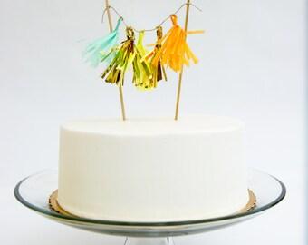 Tissue Tassel Cake Topper with Mylar