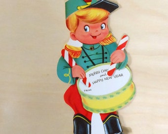 SALE 25% OFF CIJ Super Cute Vintage Diecut Merry Christmas and Happy New Year Movable Drummer Card