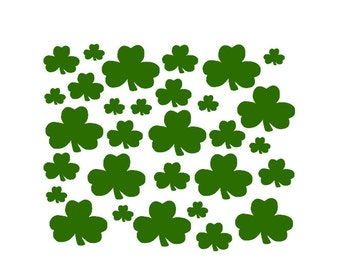 Set of 30 Small Shamrocks, St Patricks Day Decor, St Pattys Decal, Vinyl Shamrocks, Vinyl Holiday Decals Decor, Green Luck of the Irish