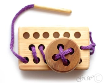Wooden Lacing Toy, Wooden Lacing Plate with Button