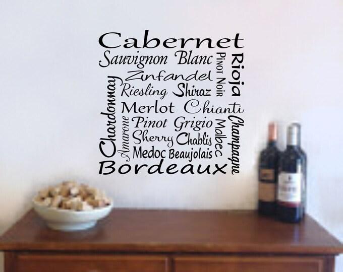 Wine Wall Art Wine Decal - Wine Names Bar Decal - Wine Wall Decal Wine Decoration-Wall Wine Decor-Bar Decal- Wine Bar- Bar Decor