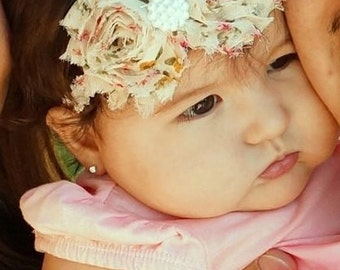 Vintage shabby chic floral headband - photo prop - baby girl headband - double rosette headband