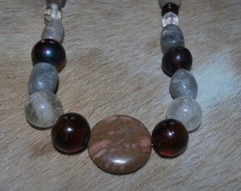 Chunky stone and glass necklace in Earth tone glass and jasper