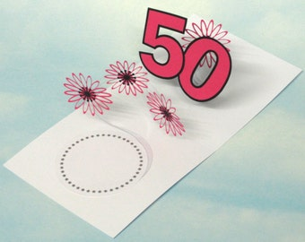 50th Birthday Card Flowers Spiral Pop Up 3D - Pink Flowers