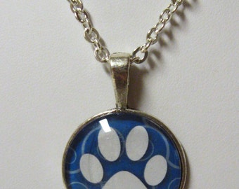 Paw print pendant and chain - PPP05-008 blue