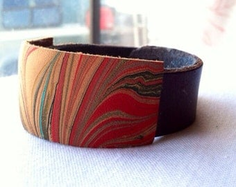 marbled leather wrist cuff with lining