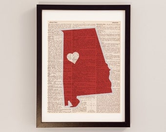 Alabama Crimson Tide Dictionary Print - Tuscaloosa Art - Print on Vintage Dictionary Paper - University of Alabama Print - Roll Tide