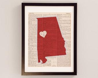 Alabama Crimson Tide Dictionary Print - Tuscaloosa Art - Print on Vintage Dictionary Paper - University of Alabama Print - Roll Tide