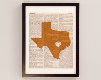 Texas Longhorns Dictionary Print - Austin Texas - Print on Vintage Dictionary Paper - Austin Art - University of Texas - Hook Em Horns
