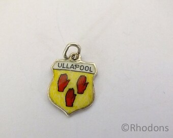 Vintage Silver & Enamel Travel Shield Charm - Ullapool, Scotland