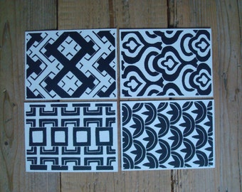 Black Retro Patterns - set of 4 single cards with original lino print