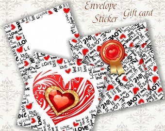 HEARTs - Printable Download Digital Collage Sheets SET Envelope and Gift Cards and Stickers for Valentine Day , Wedding - Print and Cut