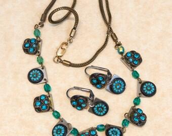 Vintage Necklace -  Designer Adaya Necklace and Dangle Earring Set From Israel