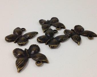 5 Pc. Antique Bronze Style Butterfly Charm 20x20mm