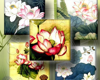 Lotus - 1x1 inch and scrabble tiles - Digital Collage Sheet CG-560 for Pendants, Scrabble Tiles, Crafts