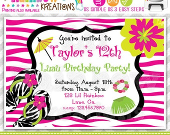 233: DIY - Zebra Print Luau Party Invitation Or Thank You Card