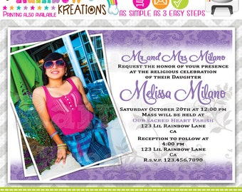 484: DIY - Purple Damask Quinceañera or Sweet 16 Party Invitation Or Thank You Card