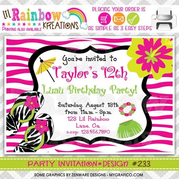 233: DIY Zebra Print Luau Party Invitation Or Thank You Card