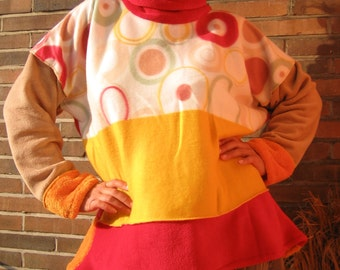 Cuddly Sweater red yellow white extra long sleeves xxl Tall Women Clothing warm sweater fleece handmade plus size tall women happy colors
