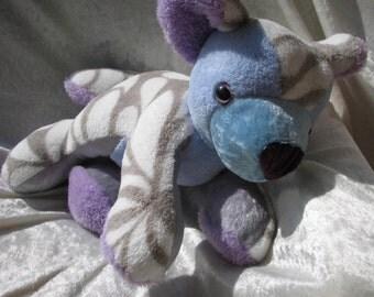 SEA SHELLS Teddy Bear Baby Shower, lavender blue white bear nursery decor, soft toy stuffed Bear Cub plushie, soft bear white blue handmade