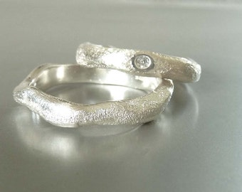 Wedding rings in sterling silver with diamond, wedding ring set - handmade by SILVERLOUNGE