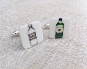 Gin and tonic cuff links - Gin cuff links - Quirky cuff links - Gift for him - Gin gift - Gin lover - Groom gift