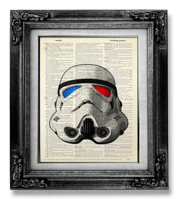 Dictionary art star wars art print dictionary paper star for Sci fi home decor