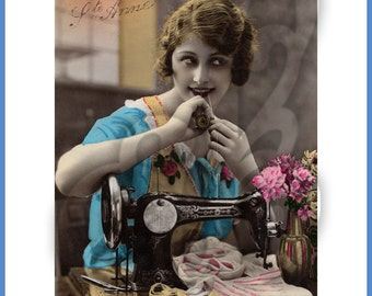 Digital Image of 1920's Woman at Sewing Machine with Thread and Flowers