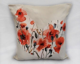 Red poppy hen design pillow cover / cushion cover - 18x18 inch (45x45cm) decorative pillow, throw pillow, decorative cushion, pillow throw