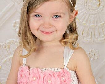 White Mini Blossom Headband, White Skinny Headband, White Chiffon Headband, White Baby Headband, White Toddler Headband, Girls Headband