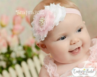 Baby Headbad, Pink and White Shabby Chic Baby Headband, Baby Girl Headband, Newborn Headband, Flower Headband, Baby Bows