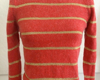 Vintage 1980's Bateau Neckline Silk/Angora Sweater with Gold Stripes and Puff Sleeves
