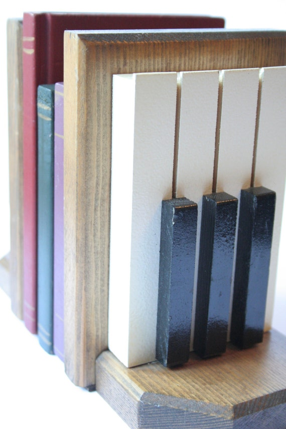 Wood piano book ends vintage retro keyboard music by iluvthenw - Piano bookends ...