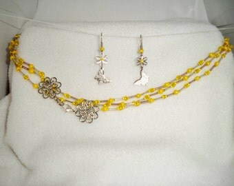 Yellow and gold beaded Multistrand with Earrings