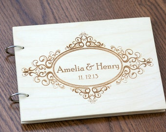 Wedding Guest book, Rustic Wedding Guestbook, Guest Book Personalized, Customized