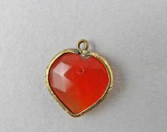 Antique Victorian Pendant Gold Filled Heart Pendant Faceted Carnelian Agate Pendant Antique Jewellery Antiques Collectibles