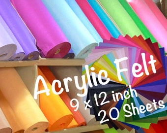 20 pieces 9x12' Acrylic Felt|81 colors|1.5mm|A1-A61|M1-M20