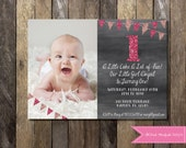 PRINTABLE Chalkboard First Birthday Invitation Picture Glitter Bunting Banner 1st Birthday Invitation Girls Boys Birthday Party 4x6 or 5x7