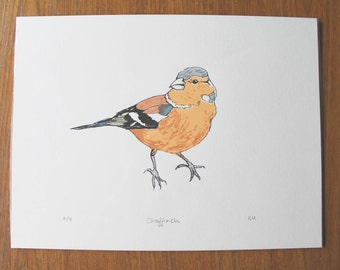 Limited edition chaffinch bird screenprint
