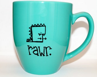 Hand Drawn Rawr. Dinosaur Mug (Customizable)