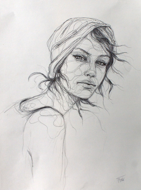ORIGINAL Ink Drawing Woman Line Drawing Woman Ink and Line Drawing Woman Portrait Woman