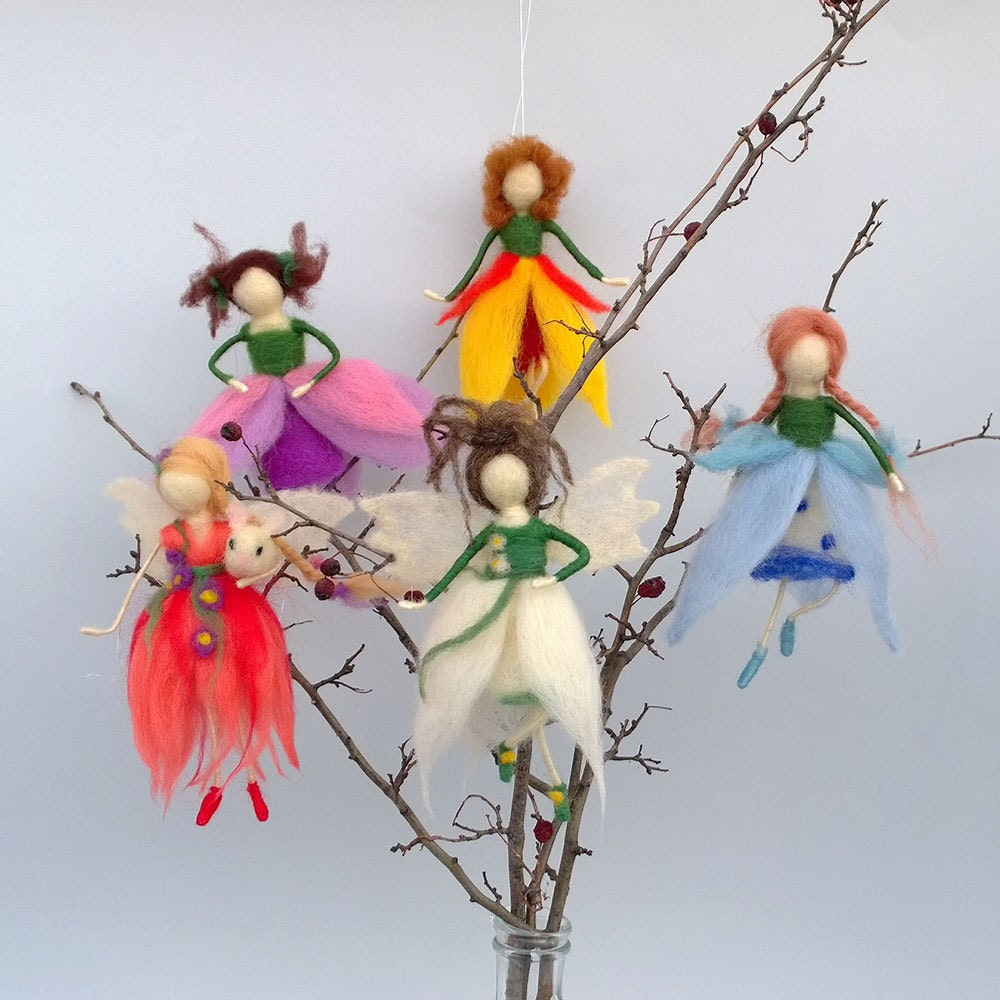 Felt art dolls fairies flower waldorf doll needle felt fairy