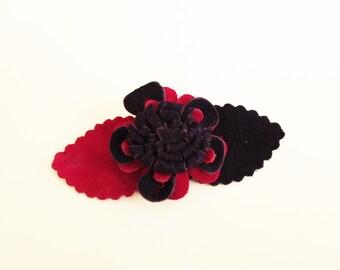 Leather flower Brooch, Hair clip, Leather flower, Purple, Fuchsia
