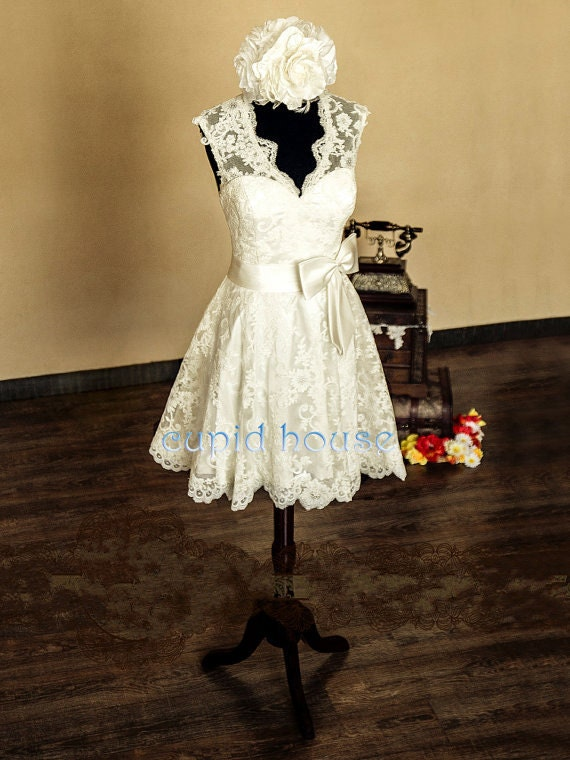 Short Lace Reception Dress Simple Straps Sleeveless V Neck