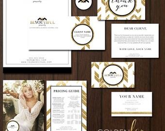 INSTANT DOWNLOAD 9 PC Gold Glitter Modern Glam Premade Marketing Set for photographers & small business, branding, marketing set