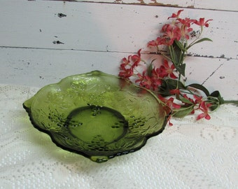 Indiana Glass Bowl Green Dish with Raised Grapevine Pattern