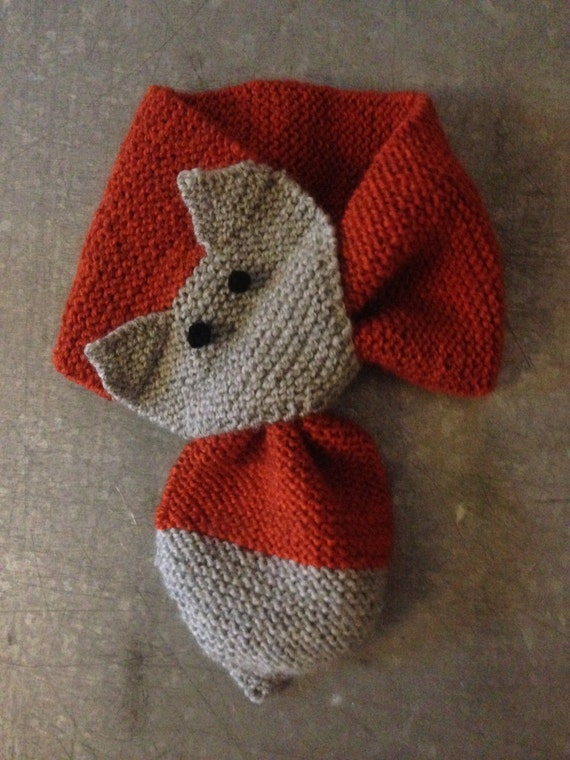 Animal Cowl Knitting Pattern : Items similar to Fox Animal Scarf Organic Wool Knitted Bow Tie Cowl for Baby ...