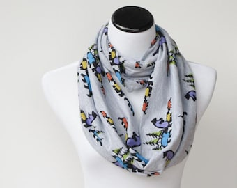 Bear scarf, gray scarf, Bear gray infinity scarf loop scarf cute woodland bears scarf - circle loop scarf gift for girl, gift for mom